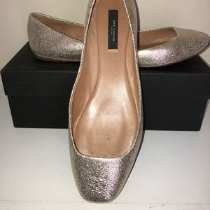 Ann Taylor Metallic Gold Leather Flats